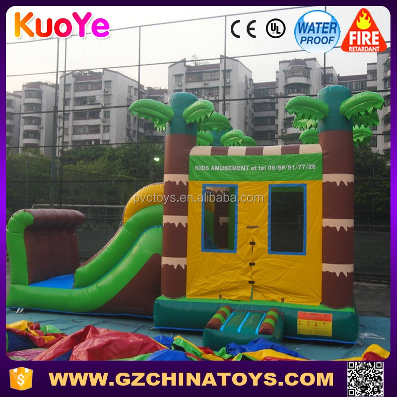 2016 factory price tropical cheap carnival inflatable bouncing castle bounce house combo slide