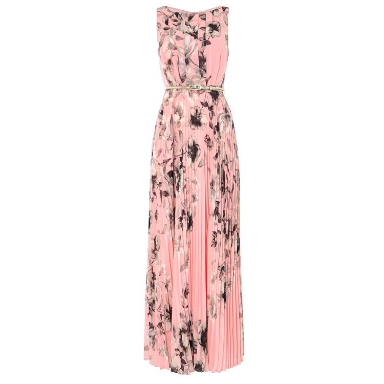 Maxi Jurk Bloemenprint.Vrouw Lange Jurk Patroon Nieuwe Geplooide Roze Bloemenprint Elegante