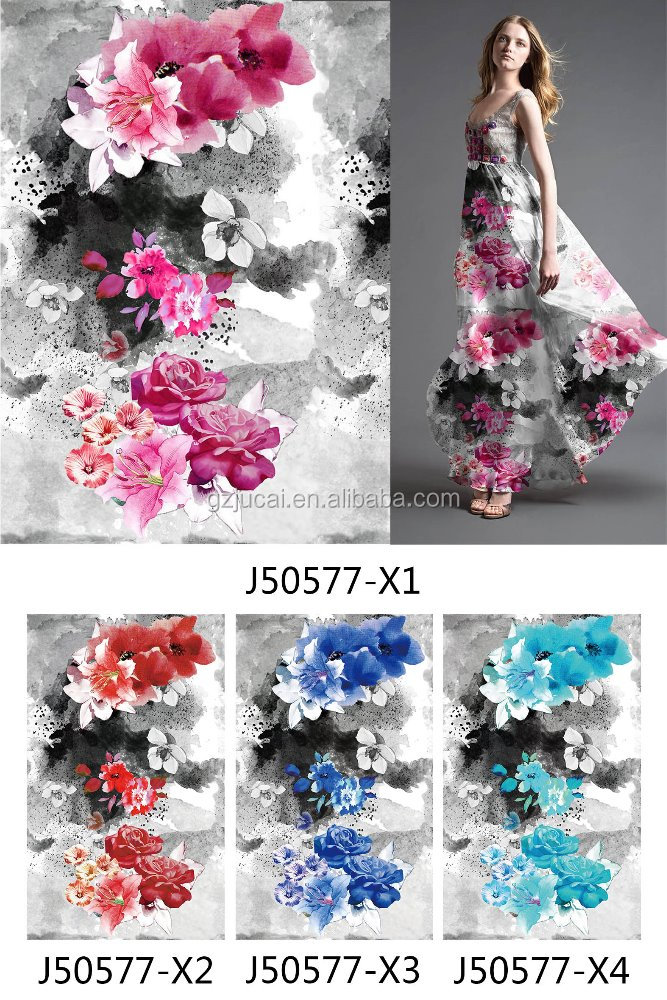 custom flowers and plants printing chiffon fabric 2017new summer dress voile silk printing material stocklot samble free book