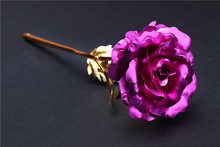 24K gold dipped plated trimmed real flower rose orchid decorative stem handmade handcraft factory OEM wholesale souvenir gift