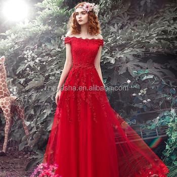 Taobao Red Lace Bead Evening Dresses Muslim Wedding Dress Italy