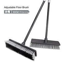 Bathroom Floor Cleaning Brush With Adjustable Plastic Coated Iron Pipe Handle and Widening Hard Bristles Floor Wiper Brushes
