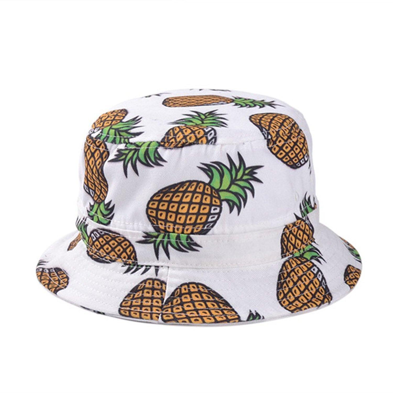 Get Quotations · Girls Ladies Headwear Pineapple Pattern Wide Rim Flat top  Fishing Bucket Hat Sun Hat e712b8c847d3