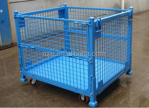 Welded light duty folded wire metal warehouse storage mesh cage for sale