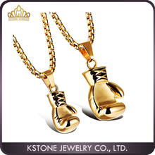 KSTONE 2016 new fashion edelstahl 316L gold farbe boxhandschuh faust paar anhänger halskette
