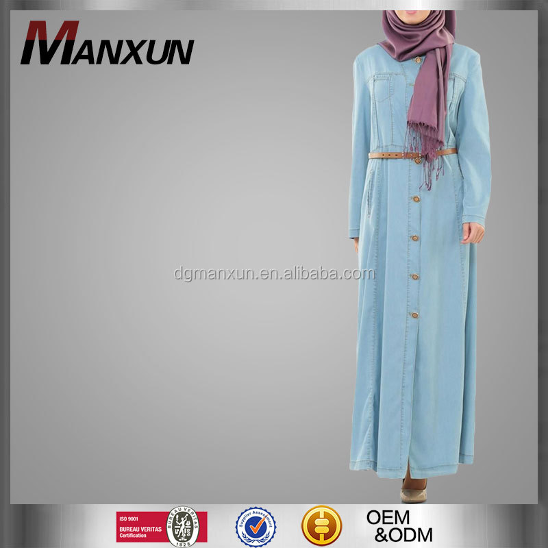 2017 Manxun abaya women long sleeve maxi dress button front denim abaya muslim dress