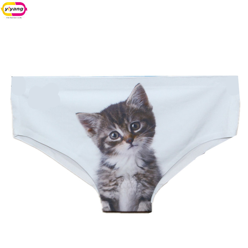 New Brand Fashion High Quality Women Underwear Seamless Control Panty Sexy 3D Cats Panties Printing Briefs