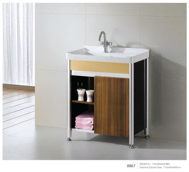 Wooden single luxury mirror waterproof wall bath cabinet for Waterproof bathroom cabinets
