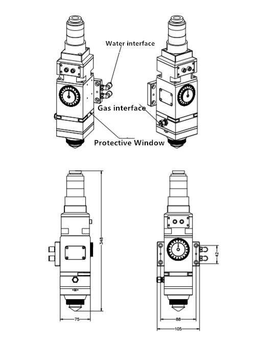 Carmanhaas Fiber Laser Cutting Head 2KW PLL100 for Metal Cutting