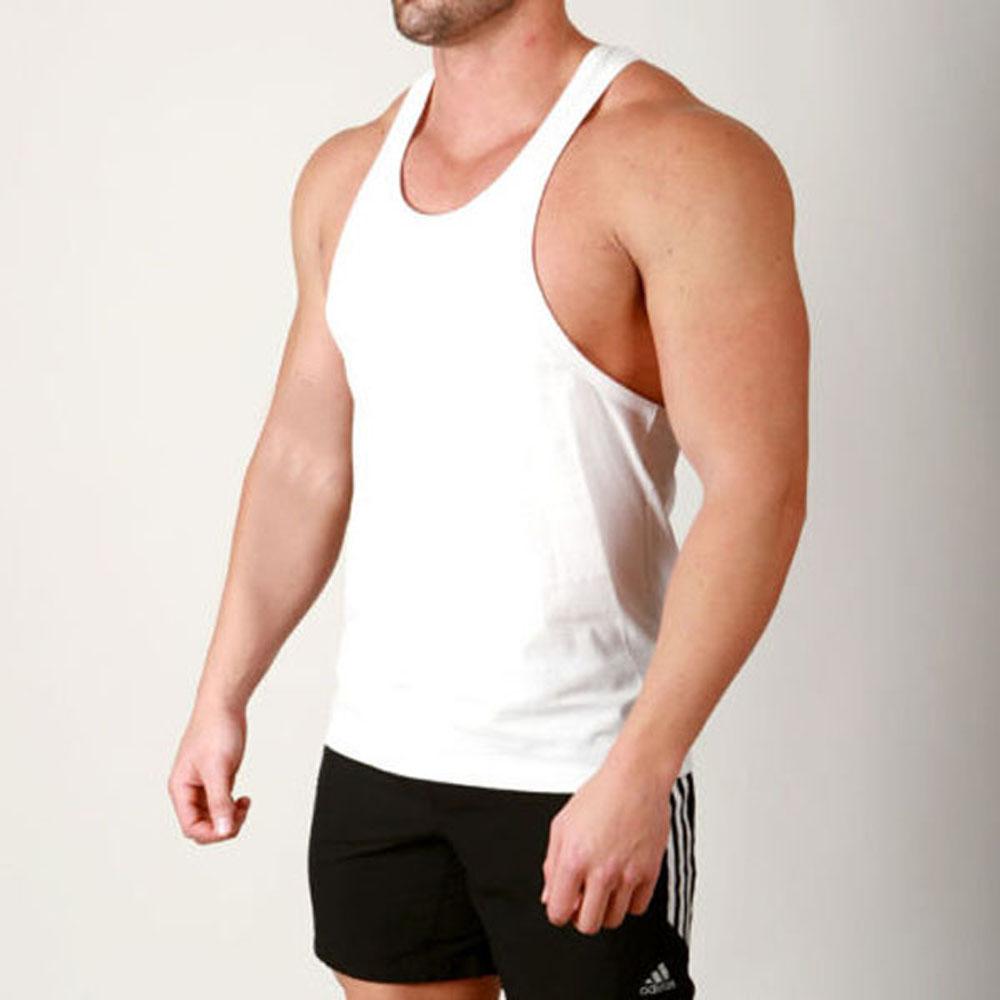 cf4fa929edba1 100% cotton running plain muscle stringer vests bodybuilding tank top white  y-back gym singlet for men