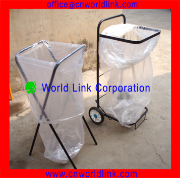 2 Wheels Collapsible Cart Steel Garden Trash Bag