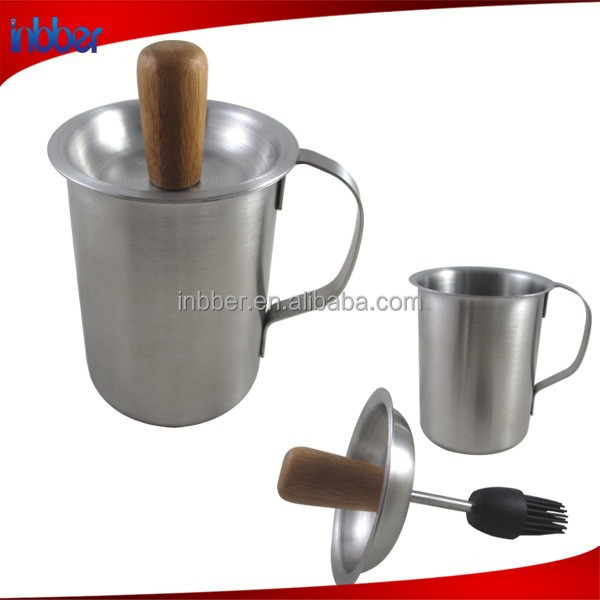 (SN117) Useful stainless steel oil silicone brush and sauce oil pot
