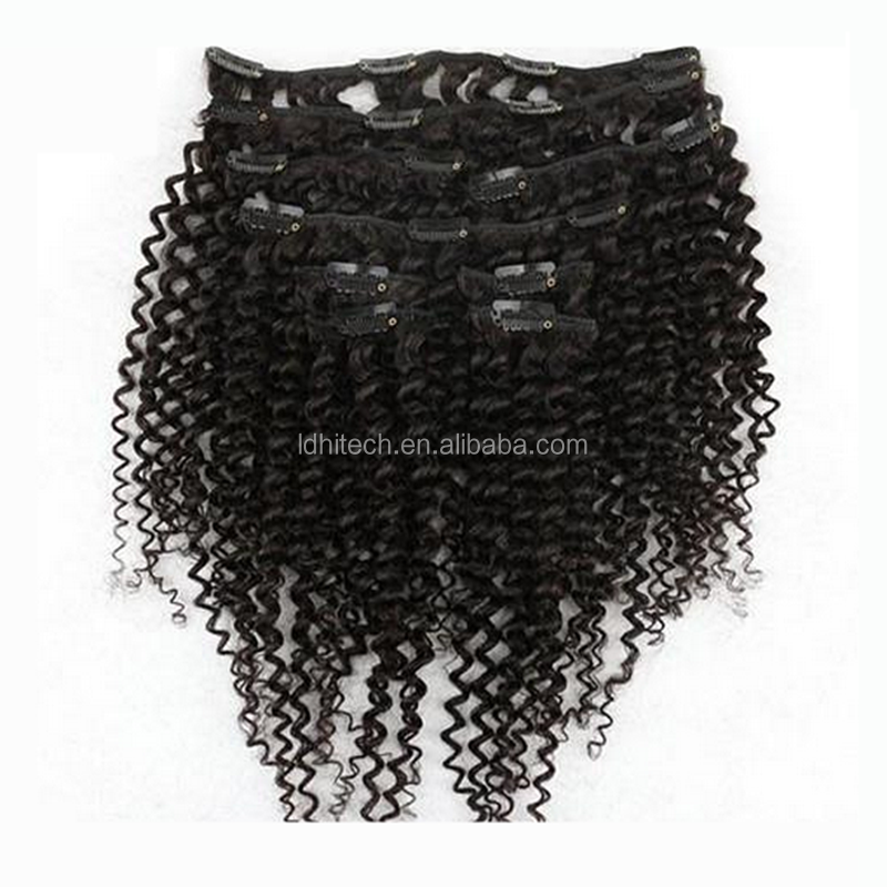 "Wholesale Lowest Price 10-30"" grade 7a virgin hair 30 inch hair extensions clip in afro kinky clip"