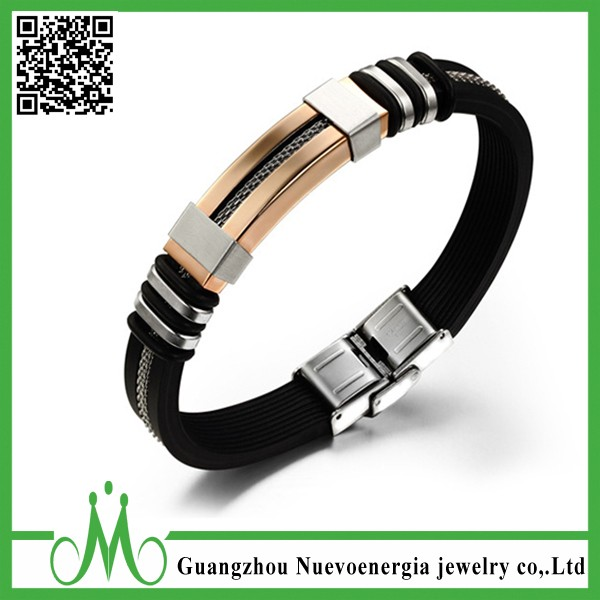 2017 Silicone Men Bracelet Jewerly Gold Stainless Steel Men Silicone Bangle