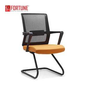 Economical simple design office mesh chair without arms no wheels for visitors area use