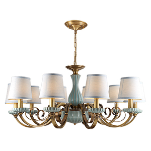 Modern Copper Material With Cloth lampshade For Indoor Lighting porcelain elegant chandelier LD1857