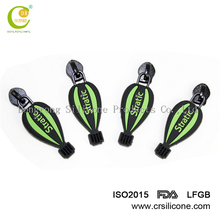 Custom cheap brand logo OEM 3d silicone zipper pull,soft pvc zipper puller,rubber zipper slider