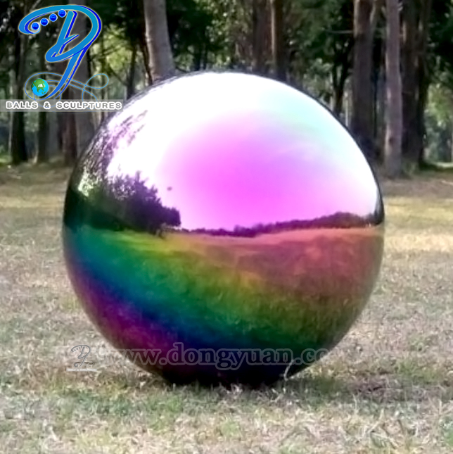 Gazing and Reflection Stainless Steel Hollow Ball with Rainbow Color