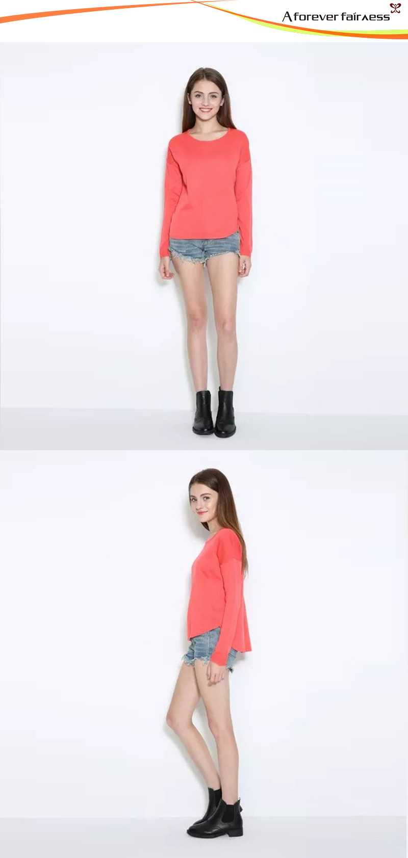 Women Long Sleeve O Neck Knitted Sweater Pure Color Sweater Pullover