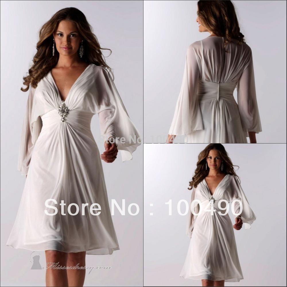 Cheap Price Full Long Sleeves Beach Wedding dresses Knee ...