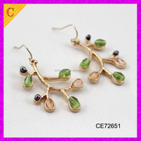 CE72651 Alloy Gold Plated Tree of Life Drop Dangle Earrings Women Girl Round Pearl Crystal Earring For Best Mothers Day Gift