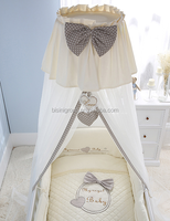 Elegant Beige and Grey Soft Mosquito Net with Bow Bed Crown for Baby Crib BF11-08023b