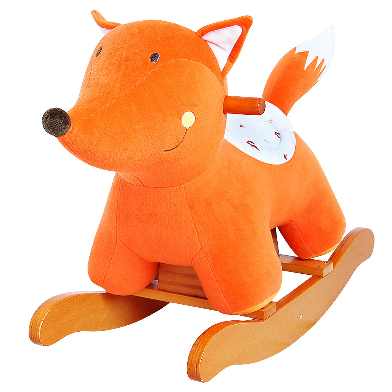 [10% Off - 7 Days Only ! ] Labebe Child Rocking Horse Toy, Stuffed Animal Rocker Toy, Orange Fox Rocking Horse Plush for Kid 1-3 Years, Wooden Rocking Horse/Stuffed Animal