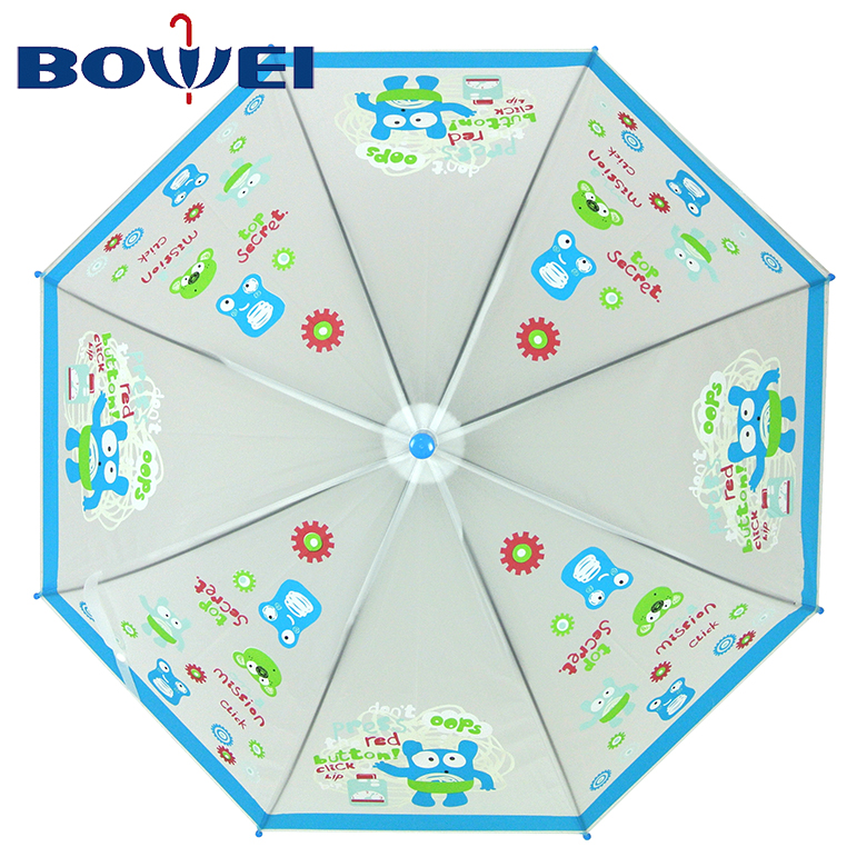 2020 China manufacturer oem transparent poe automatic kids umbrella cartoon