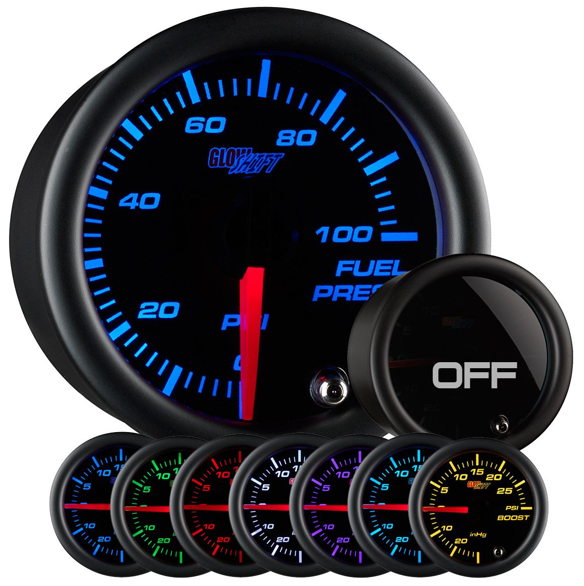 GlowShift Tinted 7 Color 100 PSI Fuel Pressure Gauge