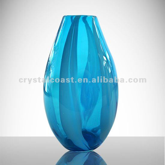 Wholesale Cheap Flower Shape Royal Blue Glass Vasetall Wedding