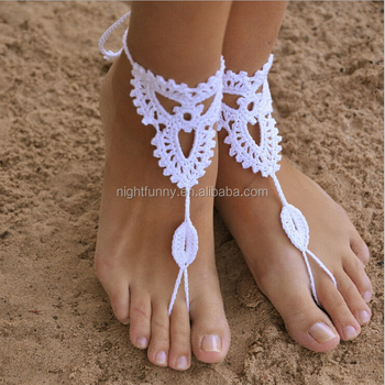 Crochet Barefoot Sandals Beach Wedding Yoga Shoes Foot Jewelry White