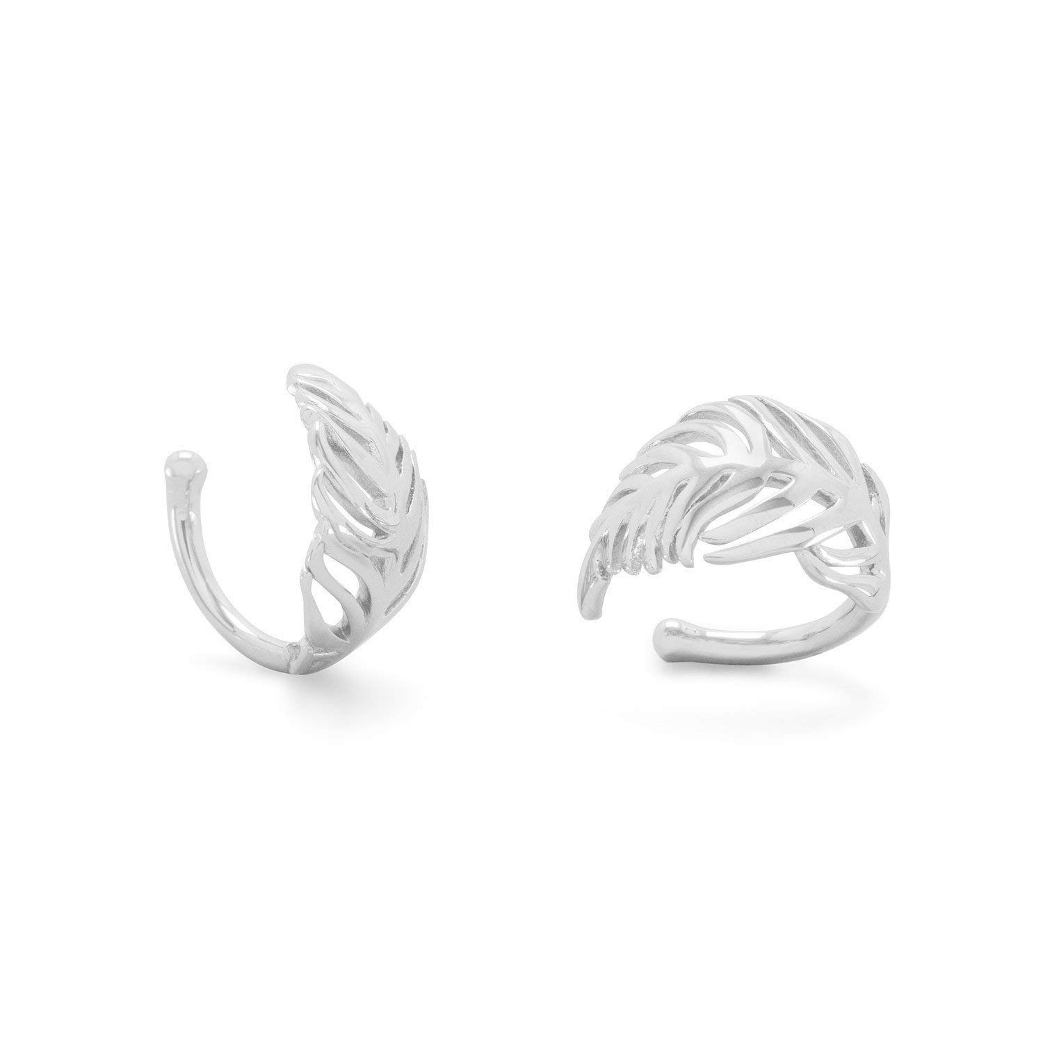 925 Sterling Silver Rhodium Plated Feather Ear Cuffs