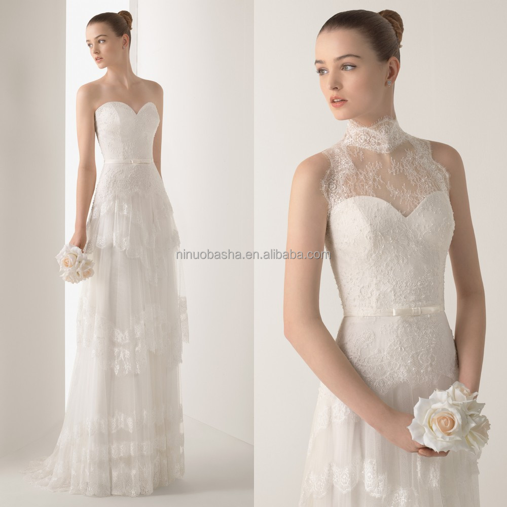 New Collection A Line Wedding Dress With High Neck Lace Jacket Sweetheart Full Length