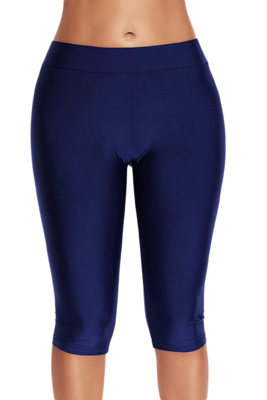 364213a93bf79e Get Quotations · Yacun Women Sport Swimsuit Bottom Skinny Capris Swim Shorts