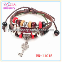 Vintage wood bead leather bracelet,leather bracelet with key for men