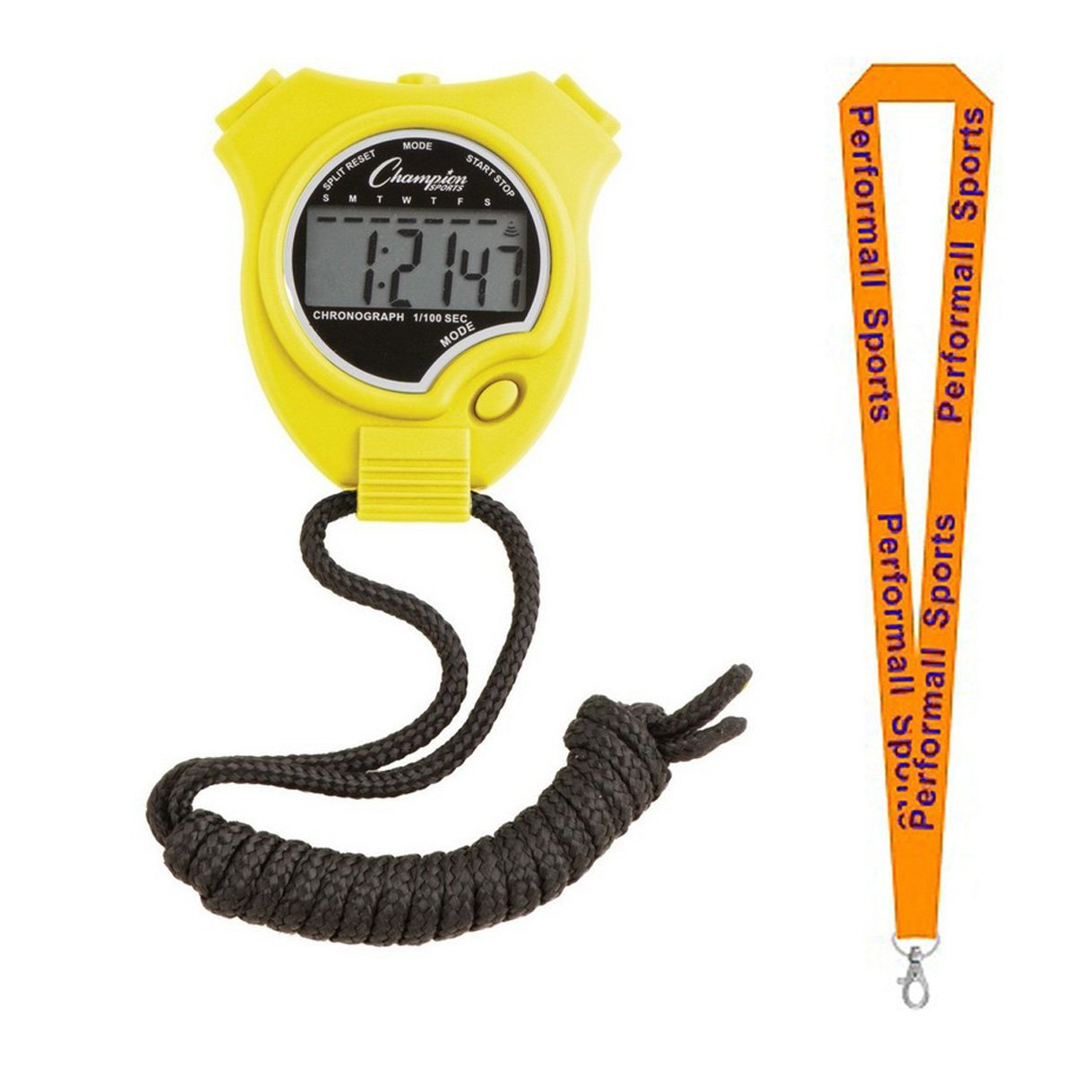 Champion Sports Bundle: Stop Watches Assorted Colors and Sizes with 1 Performall Lanyard