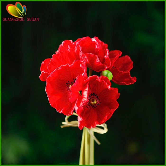 Fake Poppy Flowers Natural Touch Artificial Pu Poppy Flower Bouquet ...
