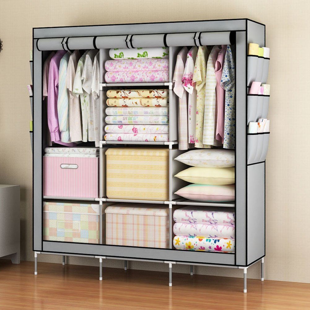 Ordinaire 3 Door Canvas Clothes Wardrobe Rail Storage Organiser Foldable Lightweight  Non Woven Fabric Cupboard With
