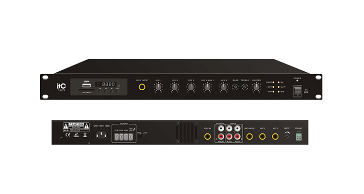 DC 24 V 60 W כריזה זמין T-60TBV מיקסר מגבר עם MP3/טיונר/Bluetooth