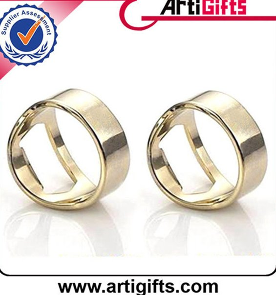 High end metal stainless steel finger ring bottle opener with your logo custom