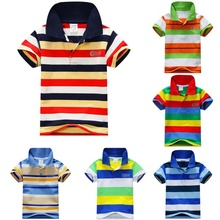Child Baby Boy Stand Collar Striped T-shirt Casual Tops Kids Tee Shirt 1-7Y The one