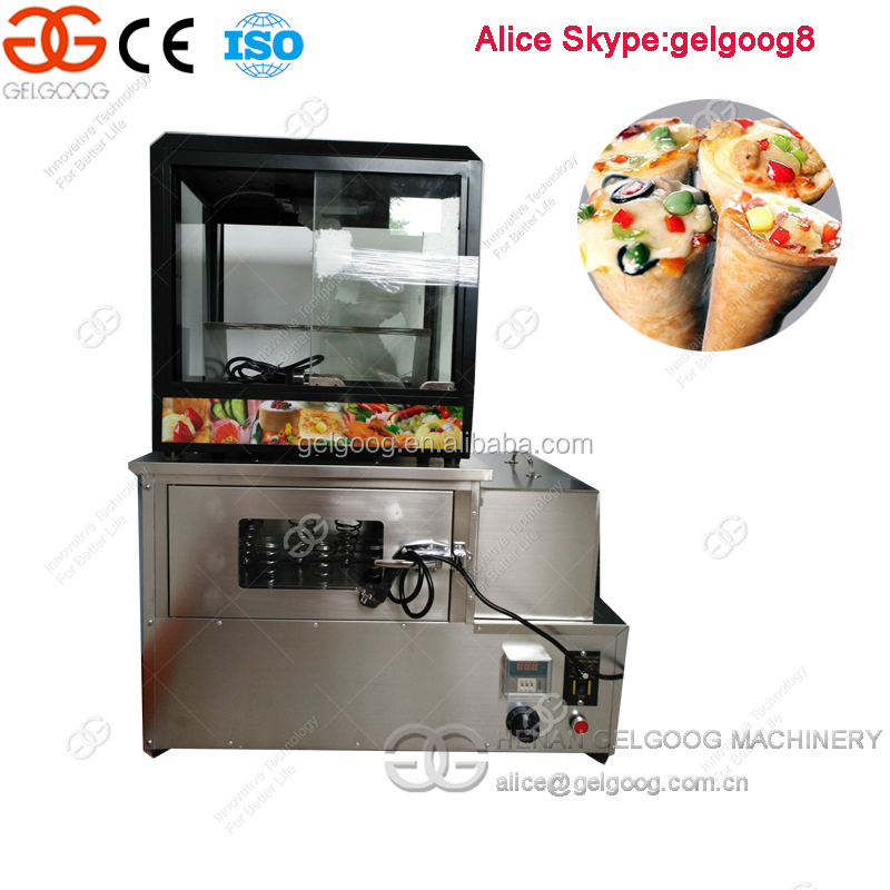 Hot Selling Pizza Cones Making Machine Rotating Cone Pizza Oven with Show Case For sale