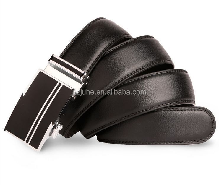 Custom business man genuine leather belt with brown steel buckle