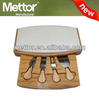 Mettor high quality cheese knife and slate cheese board set
