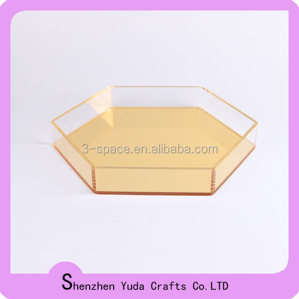 Crystal Colorful Custom hexagon Yellow acrylix tray food tray