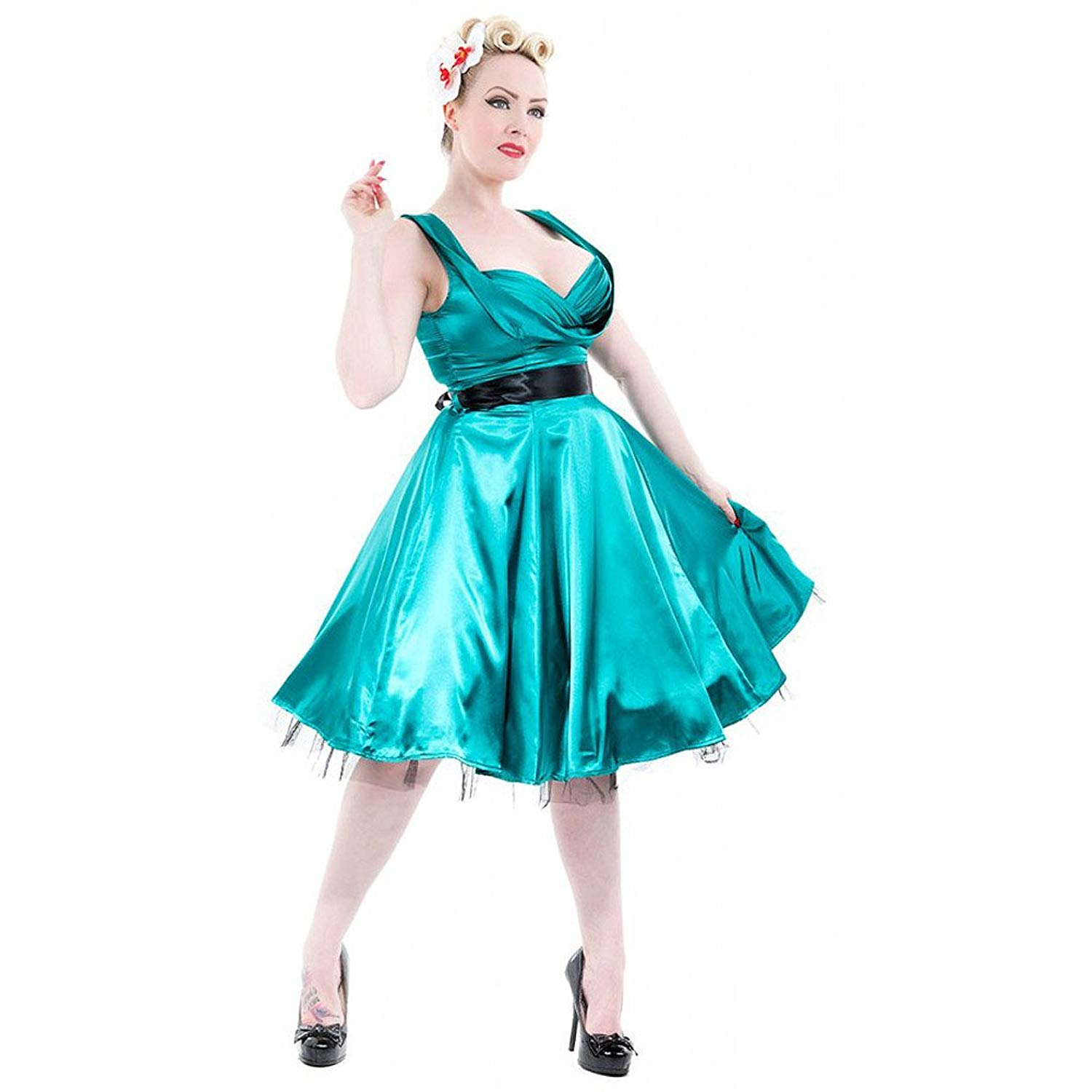 H & R London Satin 1950's Retro Cocktail Dress Teal Green