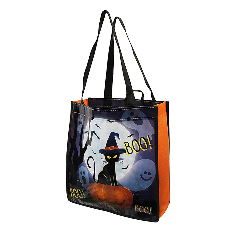 Custom reusable Halloween trick or treat non woven pp tote bags for kids