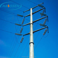 Hot Dip Galvanized Electric Power Poles For 10 KV To 220 KV Electric Power Transmission Line