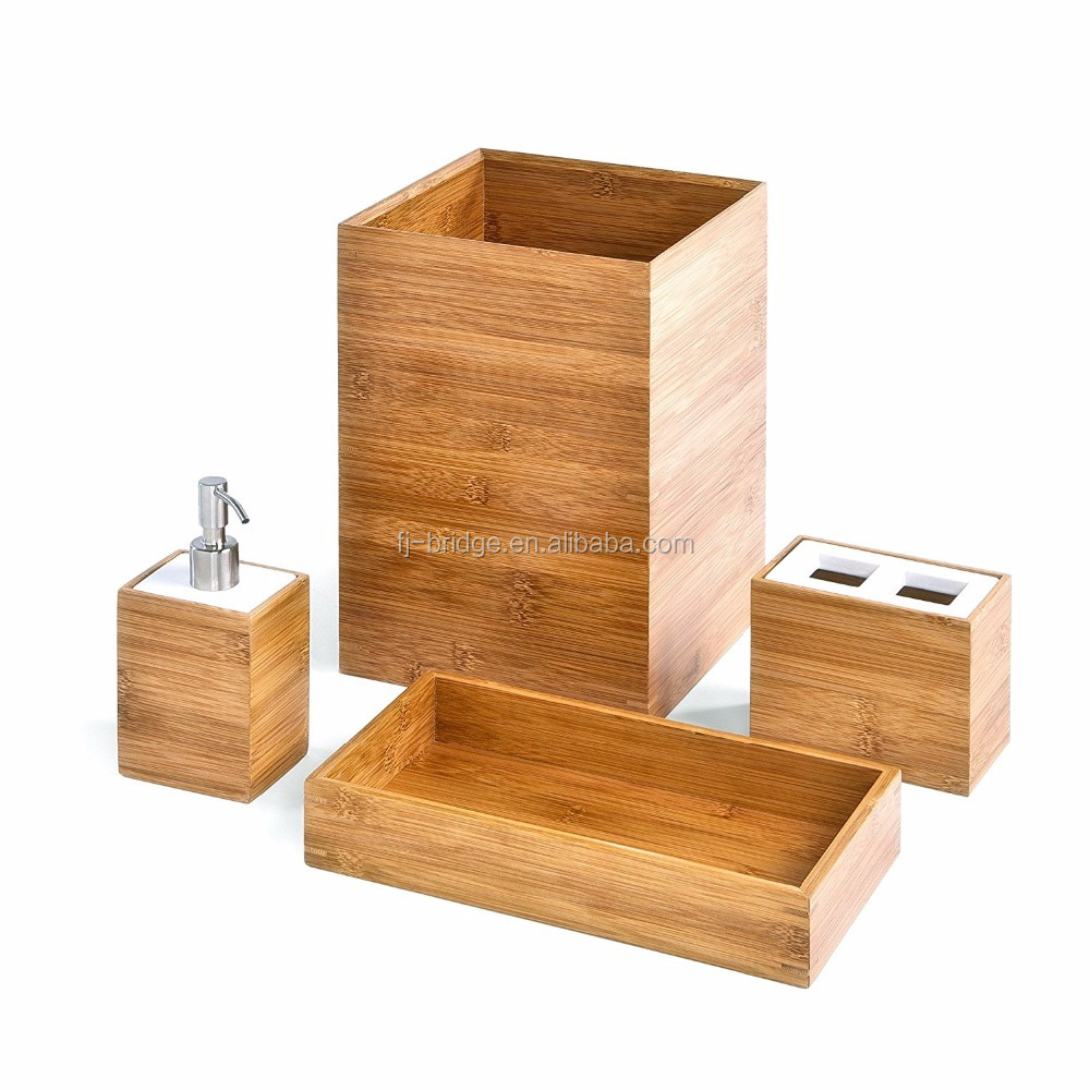 Bathroom accessory set Bamboo Bath and Vanity Set 4 PCS Classics