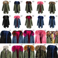 High quality winter raccoon fur Parka women fashion rex rabbit fur Liner fur parkas
